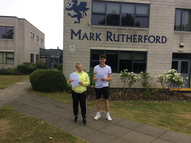 Students celebrating A-level success at Mark Rutherford School