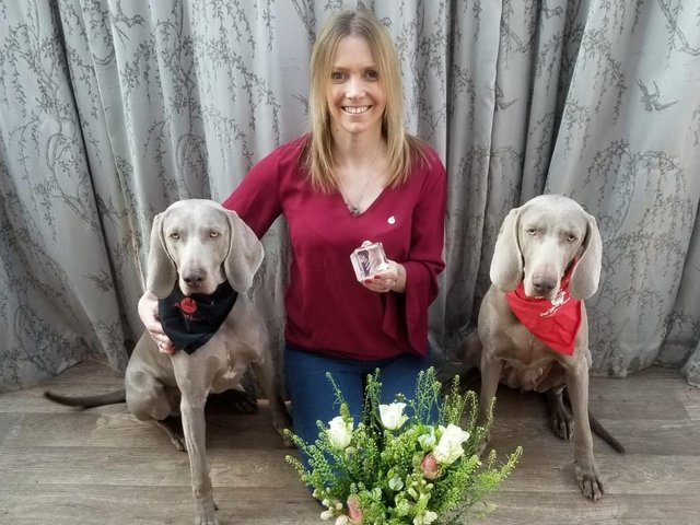 Ambassador winner Marie Dennis with dogs Luna and Liberty