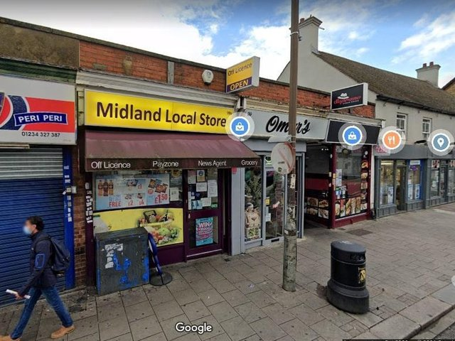 The shop is in Midland Road (Google)
