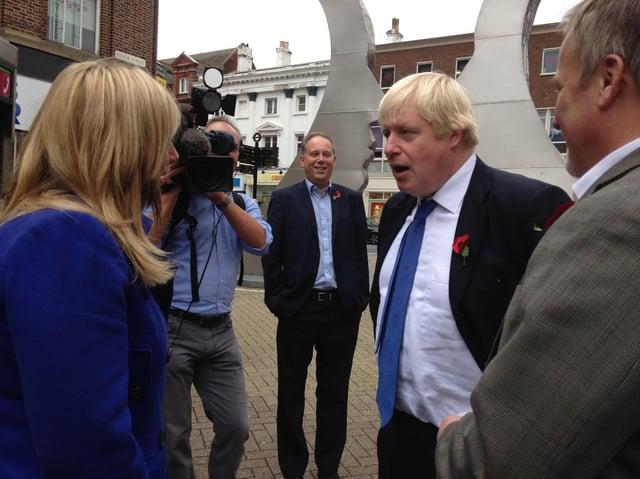 Kerry Cash meeting Boris Johnson when he visited Bedford