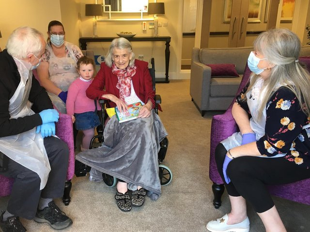 From left, David Farbon (son in law), Hamberley homemaker Sharon Murphy, great granddaughter Izzy, resident Barbara Aggett with daughter Judith Farbon