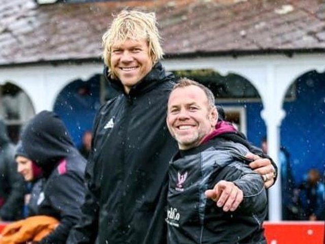 Bedford Queens' new Director of Rugby Mouritz Botha and club chairman Mick Norman
