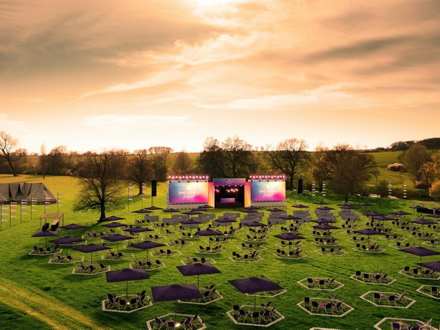 The Estate Festival will feature hexagonal plots, each large enough for a social bubble of six and equipped with deck chairs, umbrellas and tables