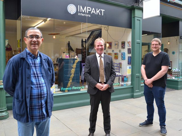 Paul Hunt, centre, with the team at IMPAKT Interiors - the upcycling shop in The Arcade