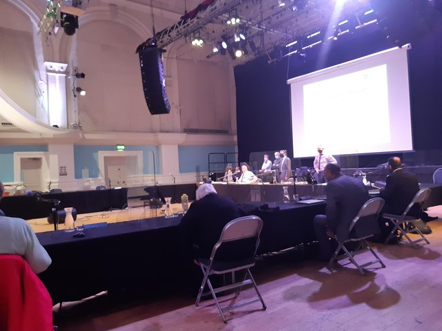 Bedford's Corn Exchange hosted the council's first in-person planning committee meeting in more than one year