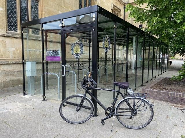 The new bike storage shelter near Harpur Square