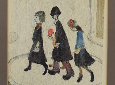Lowry's coloured reproduction of The Family