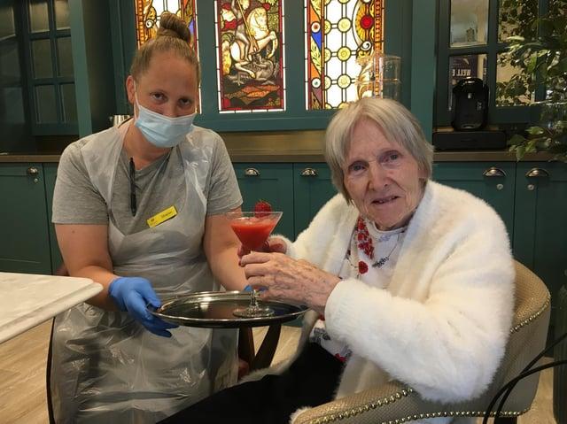 Homemaker Sharon Kendall with resident Joyce Randall