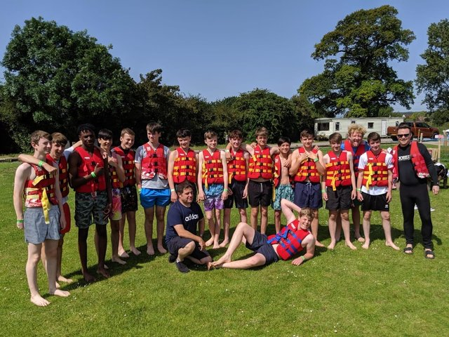 Maulden Magpies Under 17s on a team away day before the pandemic