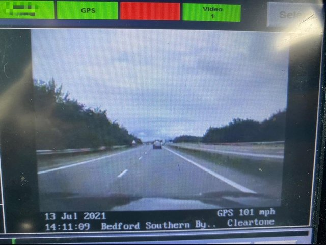 The speeding driver was doing 101mph on the A421 (Beds, Cambs & Herts Roads Policing Unit)
